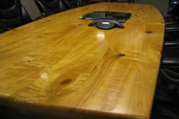 Contemporary conference table in reclaimed wood